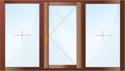 Трехстворчатое окно. Две створки - глухие, одна - поворотная.