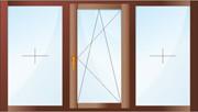 Трехстворчатое окно. Две створки - глухие, одна - поворотно-откидная.