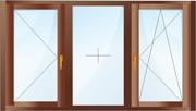 Трехстворчатое окно. Поворотная створка, глухая и поворотно-откидная.