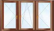 Трехстворчатое окно. Две створки - поворотные, одна - поворотно-откидная.