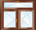 Двухстворчатое окно. Поворотная плюс поворотно-откидная створки с откидной фрамугой.