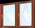 Трапециевидное окно с одной поворотной и одной поворотно-откидной створкой.