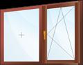 Трапециевидное окно с одной глухой и одной поворотно-откидной створкой.