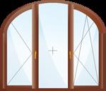 Арочное трехстворчатое окно.