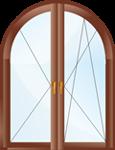Двухстворчатое арочное поворотно-откидное окно.