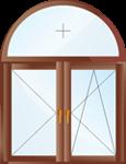 Двустворчатое арочное поворотно-откидное окно с глухой фрамугой.